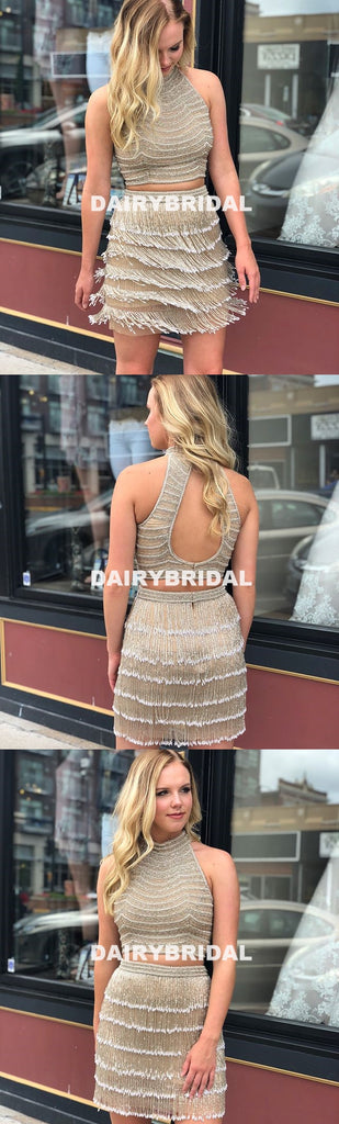 Tassel Two Pieces Homecoming Dress, Open-Back Unique Homecoming Dress, D1277