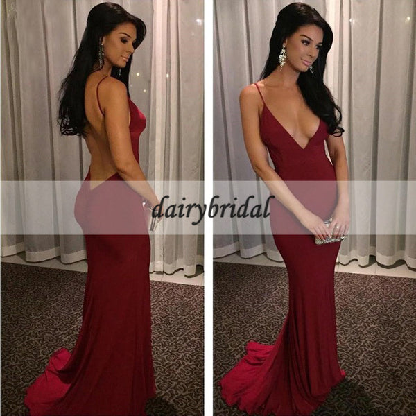 Sexy Prom Dress, Deep V-Neck Prom Dress, Spaghetti Straps Prom Dress, Mermaid Prom Dress, Backless Prom Dress, Jersey Prom Dress, D127