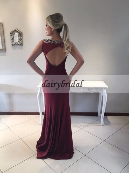 Mermaid Open-Back Prom Dress, Beaded Sleeveless Prom Dress, D129