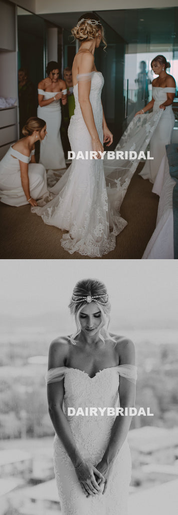 Off Shoulder Tulle Mermaid Wedding Dress, Charming Backless Lace Bridal Dress, D1331