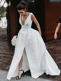 New Arrival A-Line Satin Wedding Dress, Sexy V-Neck Slit Backless Elegant Bridal Dress, D1343