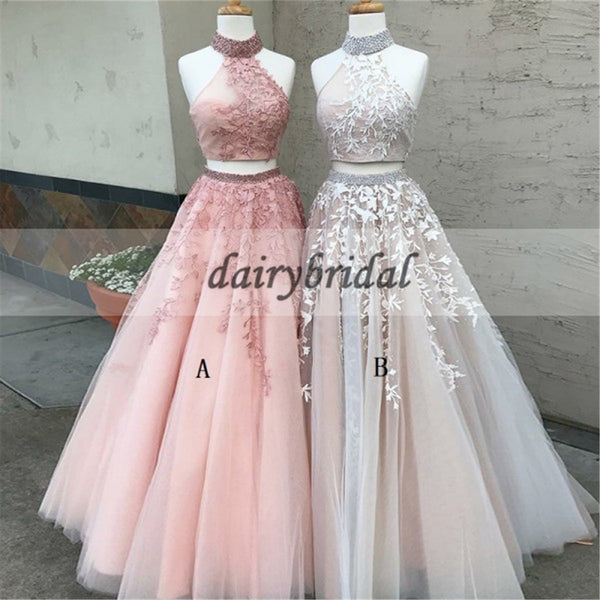 Two Pieces Tulle Applique Prom Dress, Sleeveless Open-Back Prom Dress, A-Line Beaded Prom Dress, D134