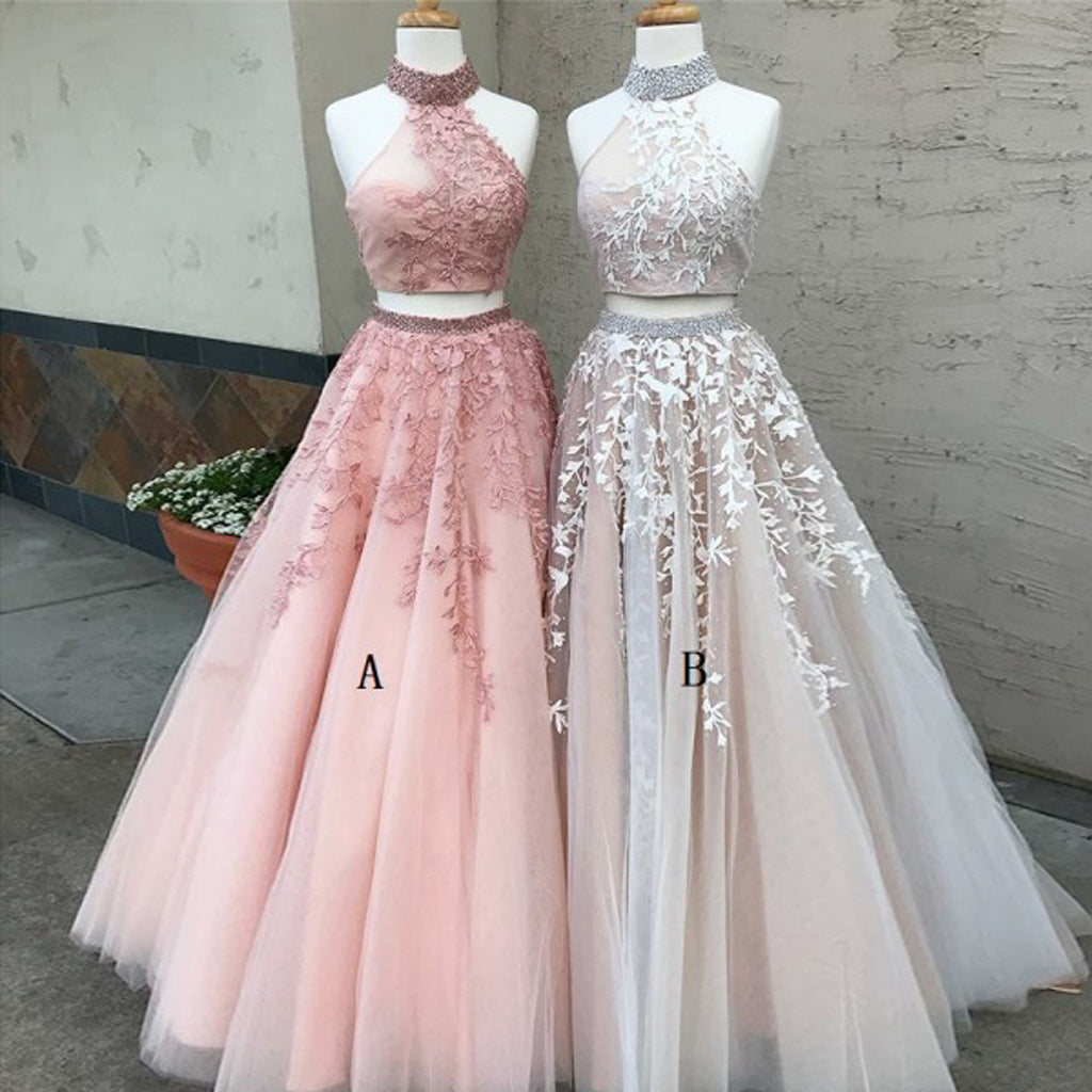 Two Pieces Tulle Applique Prom Dress, Sleeveless Open-Back Prom ...