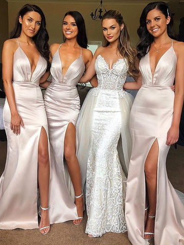 Sexy Deep V-neck Backless Bridesmaid Dress, Spaghetti Straps Mermaid Slit  Bridesmaid Dress, D1351