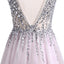 Best Sale Deep V-Neck Sexy Chiffon Beading Prom Dresses with Rhinestone,LB0138