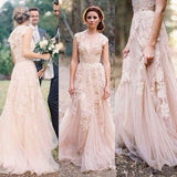 Charming Pink Lace Sexy V-neck Long Sheath Tulle Wedding Party Dresses, WD0139