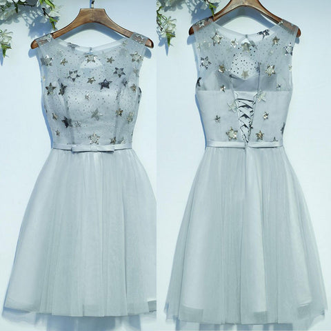 New Arrival Pretty Beading Applique Lace Up Back Homecoming dresses,220003
