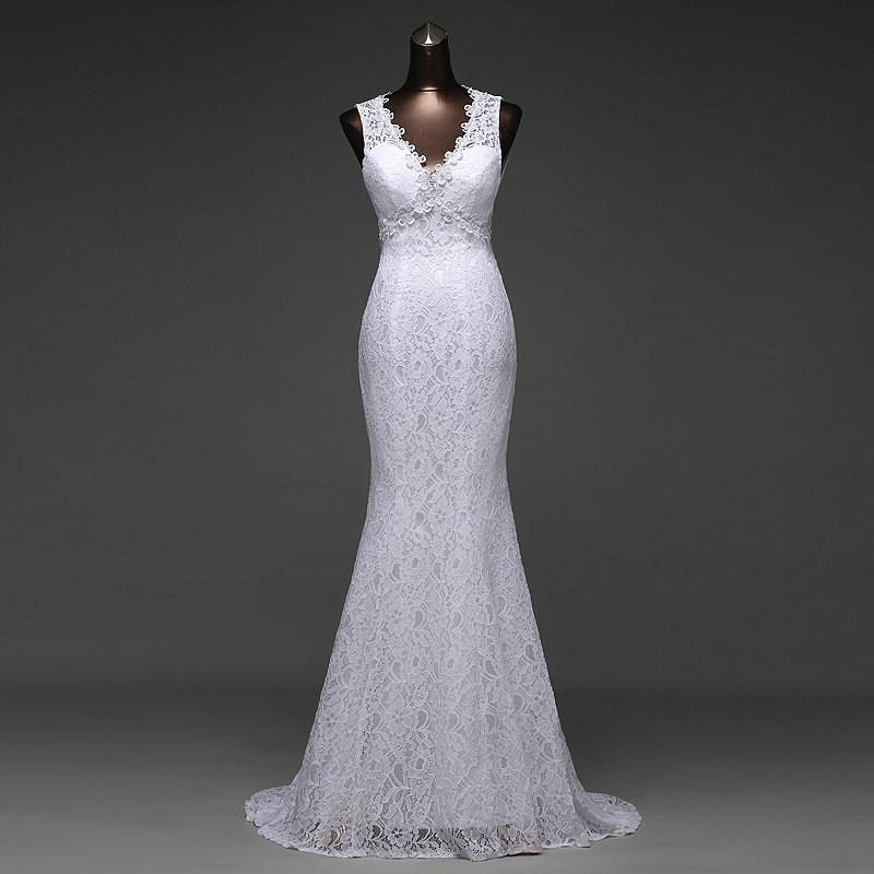 Simple Design Sexy V_neck and Beautiful Backless Mermaid Wedding Dresses,220014
