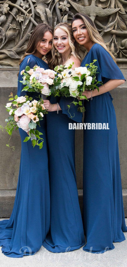 Mismatched Chiffon A-Line Simple Floor-Length Bridesmaid Dress, D1412