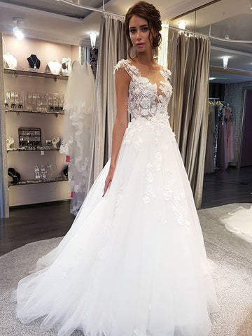 Cap Sleeve Long A-Line Wedding Dress, Applique Elegant Tulle Wedding Dress, D1441
