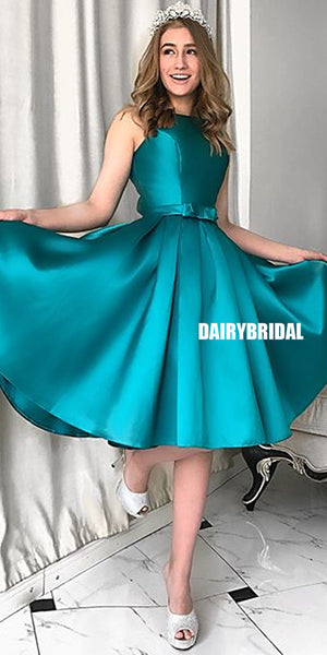 Honest A-line Knee-length Satin Backless Homecoming Dress, FC1444