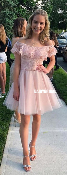 Charming Off Shoulder Lace Top A-line Tulle Homecoming Dress, FC1465