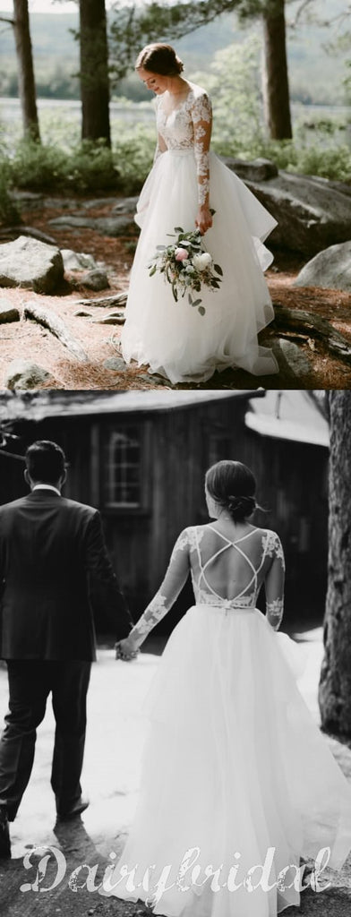Charming Long Sleeve Lace Open-Back Wedding Dress with Detachable Chiffon Skirt, FC1480