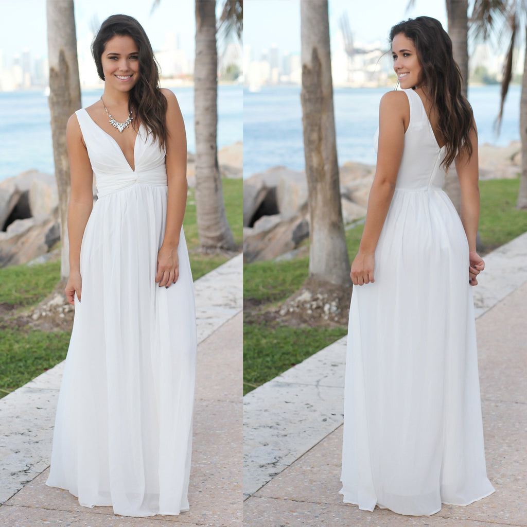Deep V-Neck Sexy Bridesmaid Dress, Cheap Chiffon V-Back Bridesmaid Dress, D148