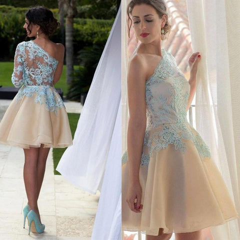 A Line One Shoulder Sleeve Short Chiffon Homecoming Dresses,Cute Junior Homecoming Dresses,220015