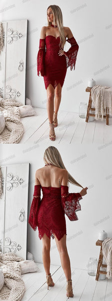 Sexy Backless Sweet Heart Mermaid Homecoming Dress, Lace Long Sleeve Homecoming Dress, D1517