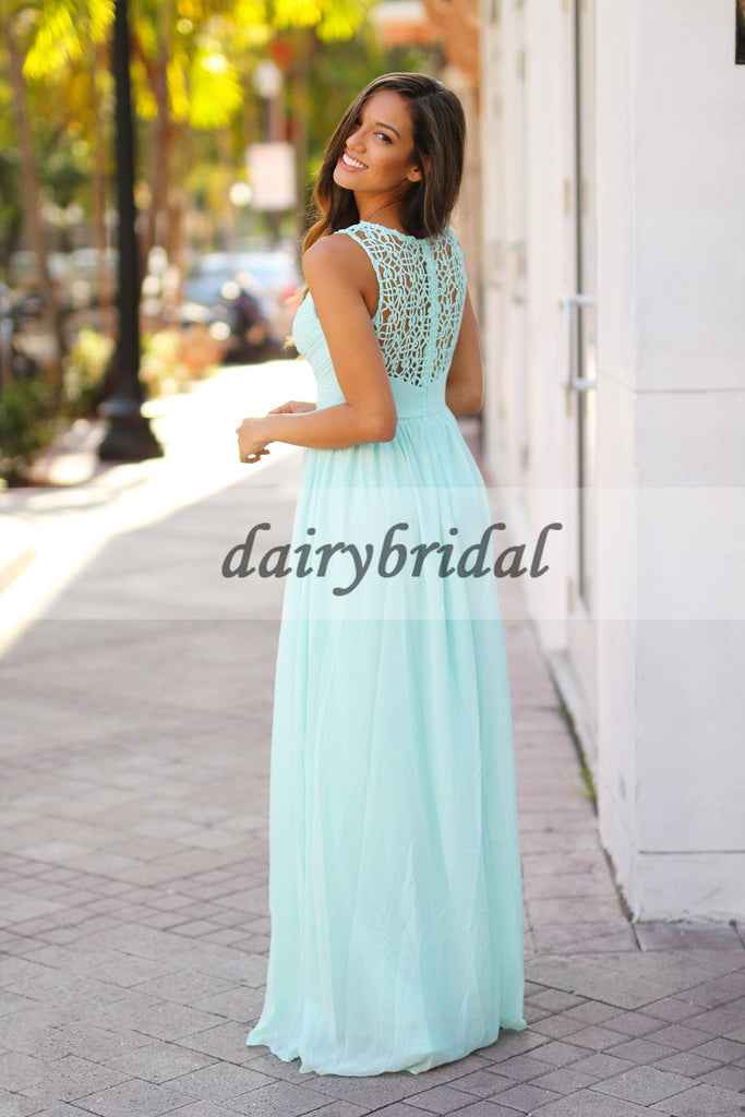 Sleeveless Unique Bridesmaid Dress, Chiffon Floor-Length Bridesmaid Dress, Cheap Bridesmaid Dress, D151