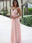 Spaghetti Straps Lace Bridesmaid Dress, Chiffon Pink Bridesmaid Dress, Backless Bridesmaid Dress, D152