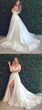 Off Shoulder Simple A-Line Slit Backless Lace Cheap Wedding Dresses, FC1538
