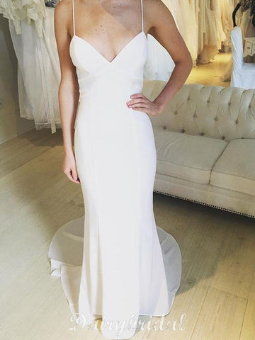 Charming Spaghetti Straps Backless Sheath V-Neck Satin Chiffon Wedding Dress, FC1583