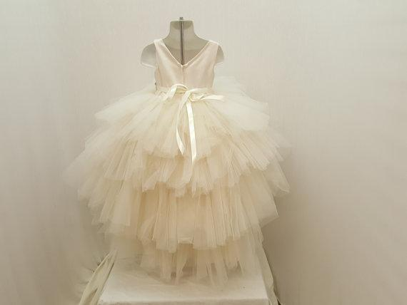 Ivory Satin Top Rhinestone Belt Hi-low Tulle Flower Girl Dresses,  Cheap Little Girl Dresses, FG028