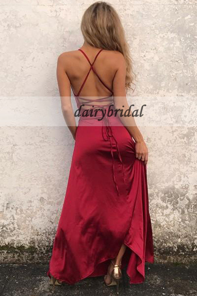 Spaghetti Straps Soft Satin Prom Dresses, Side Split Backless Sexy Prom Dresses, D164