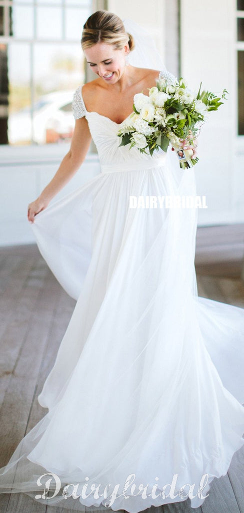 Honest A-Line Cap Sleeve Chiffon Cheap Beaded Wedding Dresses, FC1655