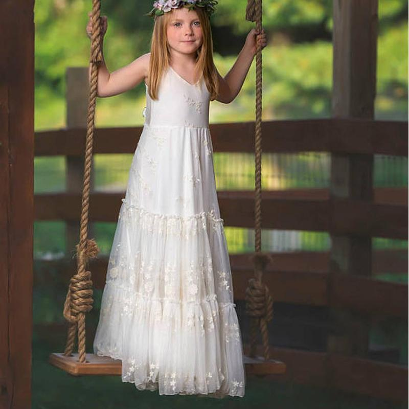 V-neck Sleeveless Long Tulle Lace Flower Girl Dresses, FG061