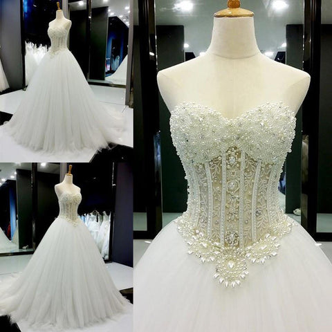 New Arrival High Quality Lace Sweet Heart Sleeveless Beading Charming Long Wedding Dresses,220017