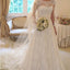 Cap Sleeve Lace A line Wedding Dresses, 2017 Long Custom Wedding Gowns, Affordable Bridal Dresses, 17095