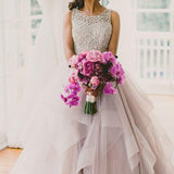 A line Scoop Neckline Organza Wedding Dresses, Long Custom Wedding Gowns, Affordable Bridal Dresses, 17115