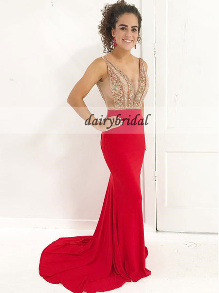 Mermaid Jersey Prom Dress, Sexy Beaded Red Prom Dress, Backless Tulle Prom Dress, D172