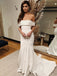 Elegant Off Shoulder Mermaid Simple Backless Satin Wedding Dresses, FC1731
