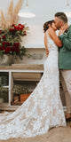 Charming Lace Sleeveless Mermaid V-Neck Backless Inexpensive Wedding Dresses, FC1765