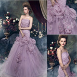 Gorgeous Strapless Mermaid Light Purple Tulle Appliques Wedding Dresses, WD0176