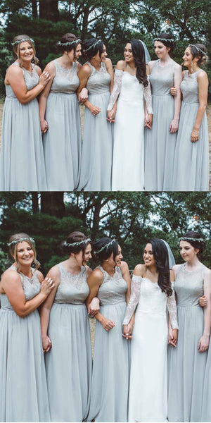Elegant Lace Open-Back Chiffon A-Line Sleeveless Bridesmaid Dress, FC1773
