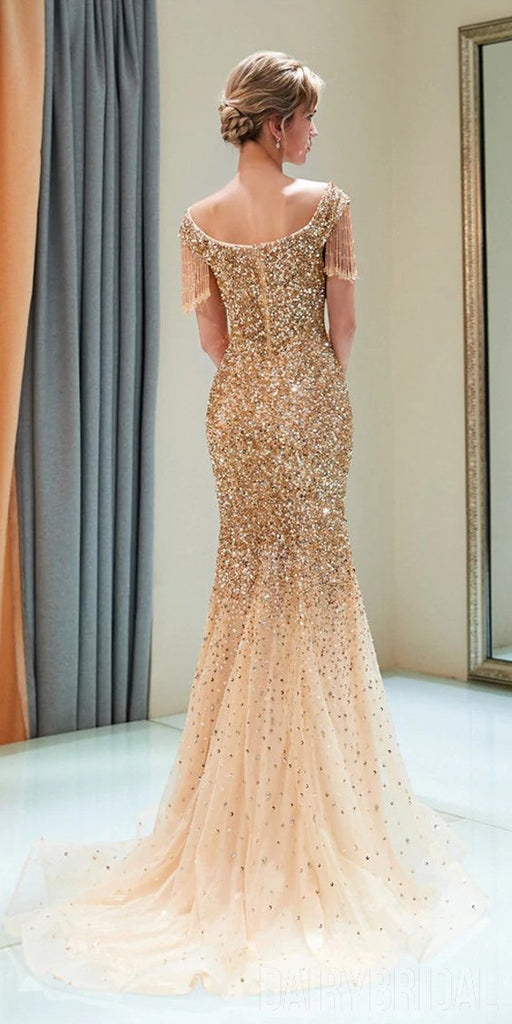Sparkly Sequin Cap Sleeve Tulle Mermaid Backless Beaded Prom Dress, FC1777