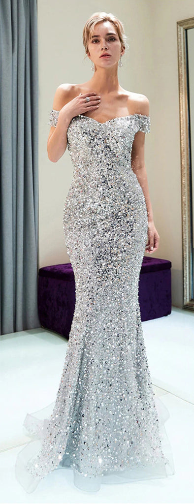 Sparkly Off Shoulder Mermaid Silver Beaded Backless Sequin Prom Dresses, FC1779