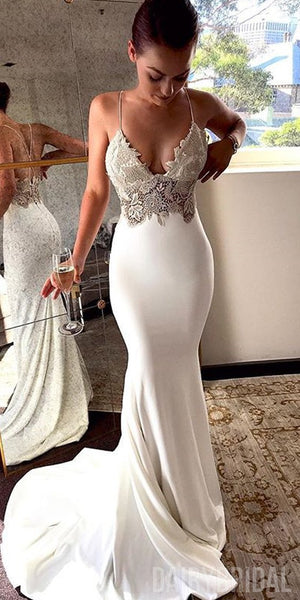 Charming Lace Sexy Backless Mermaid Jersey Prom Dresses, FC1792