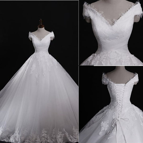Classic Style Off Shoulder Lace Up Vantage Lace Wedding Dresses, WD0180