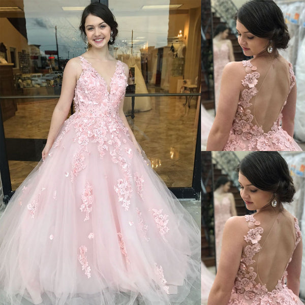Boat Neckline Tulle Applique Prom Dress, Charming Sleeveless Open-Back Prom Dress, D181