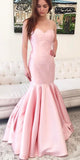 Pink Mermaid Satin Sweetheart Backless Prom Dresses, FC1831