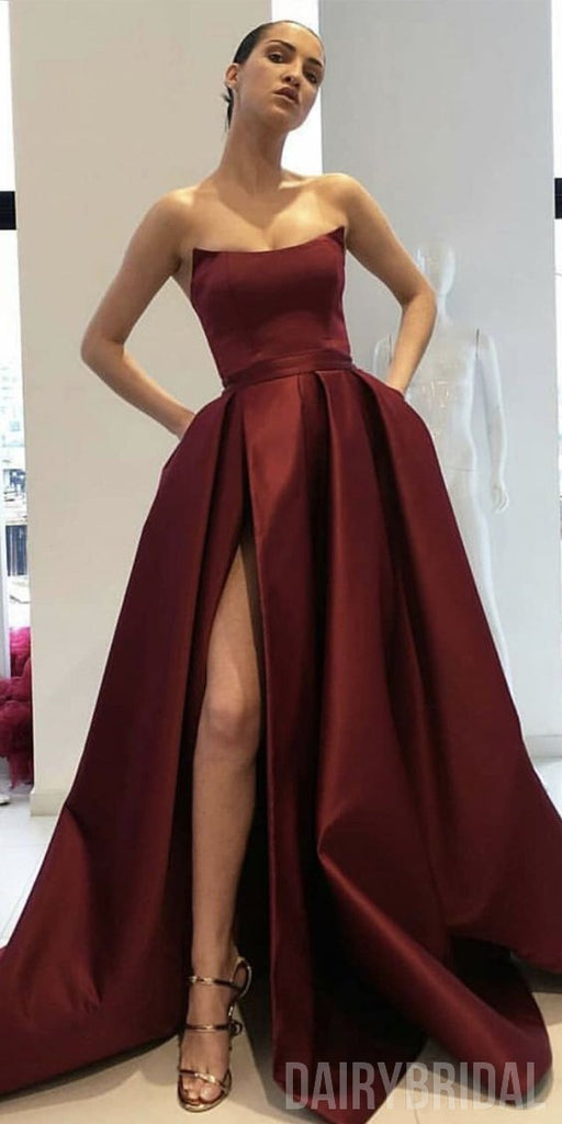 Gorgrous A-Line Satin Burgundy Slit Backless Simple Long Prom Dresses, FC1833