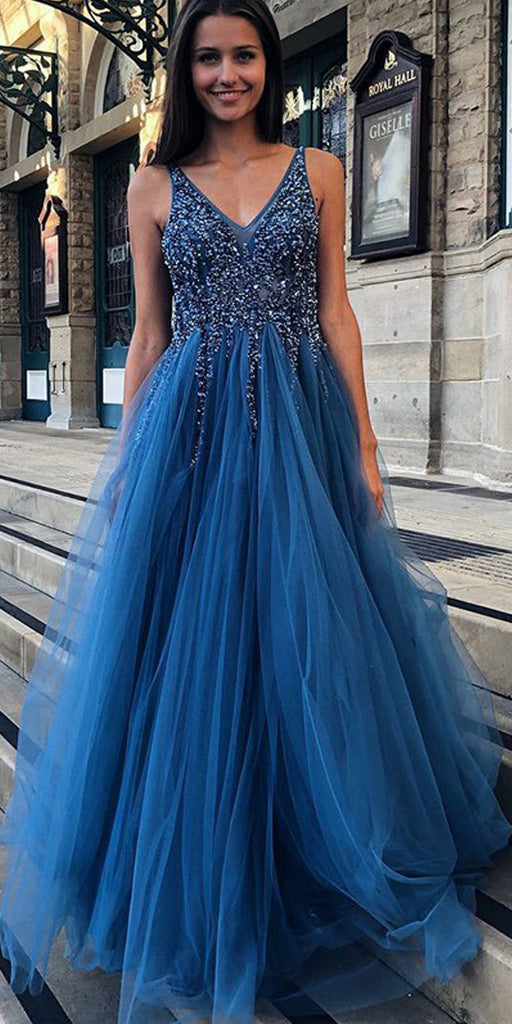 A-Line Backless Tulle V-Neck Beaded Sleeveless Seuiqn Prom Dresses, FC1848