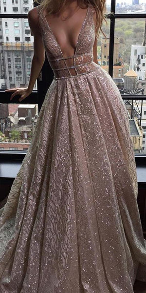 Sparkly Sequin A-Line Backless Tulle Simple Sleeveless Prom Dresses, FC1861