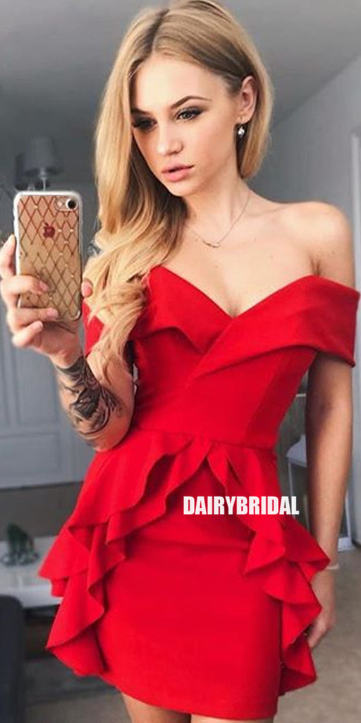 Red Off Shoulder Backless Inexpensive Homecoming Dress, FC1864