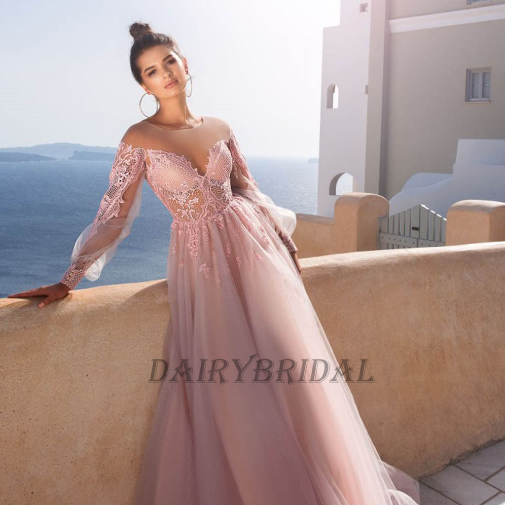 Long Sleeve Tulle Prom Dress, Pink A-Line Lace Prom Dress, Elegant ...