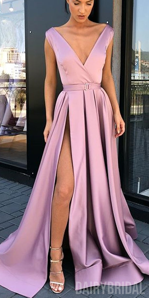 Sexy V-Neck A-Line Satin Slit Long Vintage Prom Dresses, FC1923
