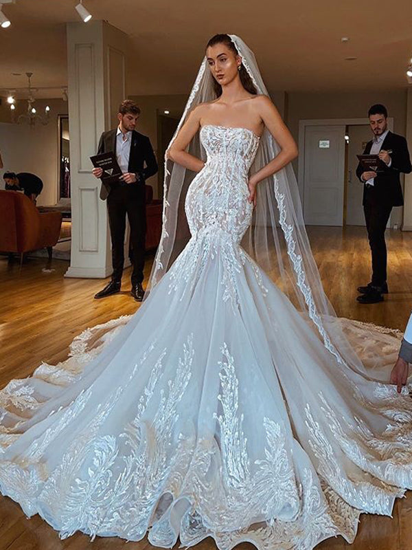 Luxury Lace Mermaid Backless Applique Straight Neckline Wedding Dresses, FC1925
