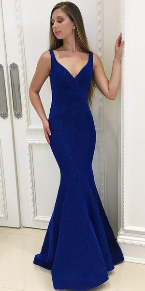 Charming V-neck Mermaid Backless Simple Prom Dresses, FC1935